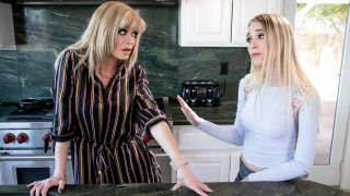 Cute blonde got stepmother lesbian in family