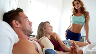Mom teaches son's girlfriend to fuck gently